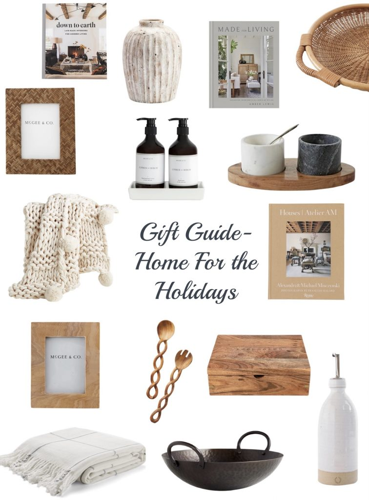 Holiday gift guide for the home includes cozy blankets, coffee table books, entertaining items, picture frames, kitchen décor & more