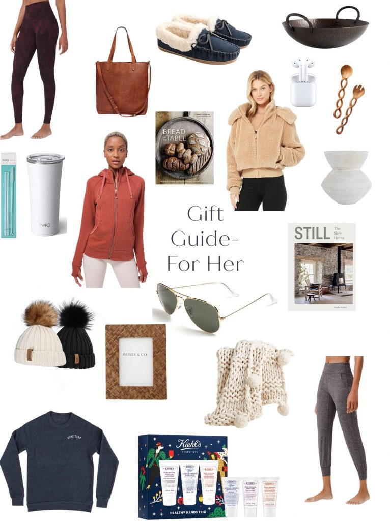 Gift guide for her including Lululemon Align leggings and joggers, Crate & Barrel cozy blanket, McGee & Co frame, Kiehl's lotion, JCrew cozy slippers, Madewell leather handbag, entertaining in the kitchen ideas, coffee table books