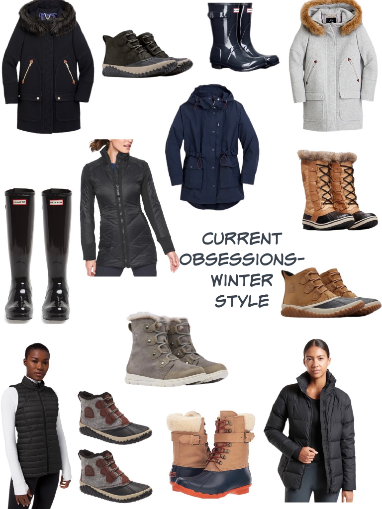 Winter style best boots and coats.  Sorel short rain boots in black with a Jcrew Wool coat.  Navy blue short Hunter boots goes well with a JCrew navy blue rain coat.  Brave the snow with a wood Jcrew coat and Sorel Tofino snow boots.  An Athleta down coat is super cute next to Sorel's short gray snow boot.  Tall hunter black boots are adorable with a Lululemon down vest.