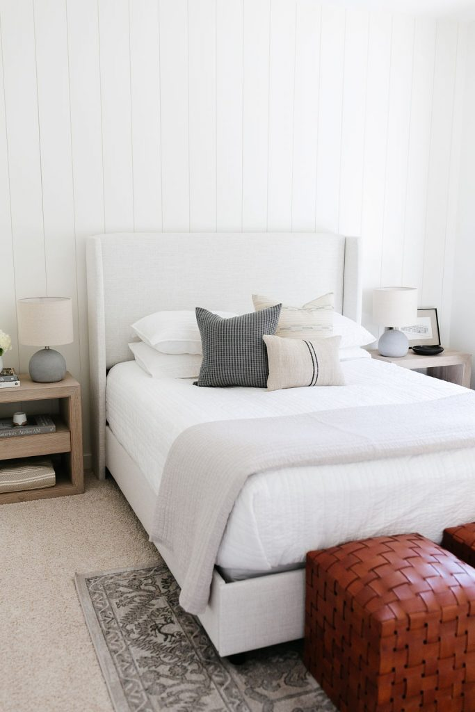 Early Black Friday Sales with a Lulu & Georgia upholstered bed, McGee & Co. Leather Ottomans and Serena & Lily bedside tables.