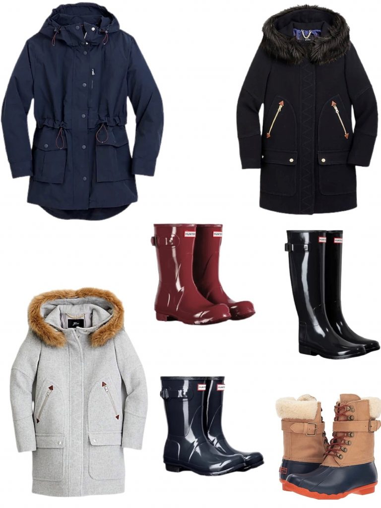 early black Friday sales my favorite boots and coats on sale.  My black and gray wool Jcrew coat is 50% off, my Hunter boots are 20% off and my Sperry snow boots are 43% off!