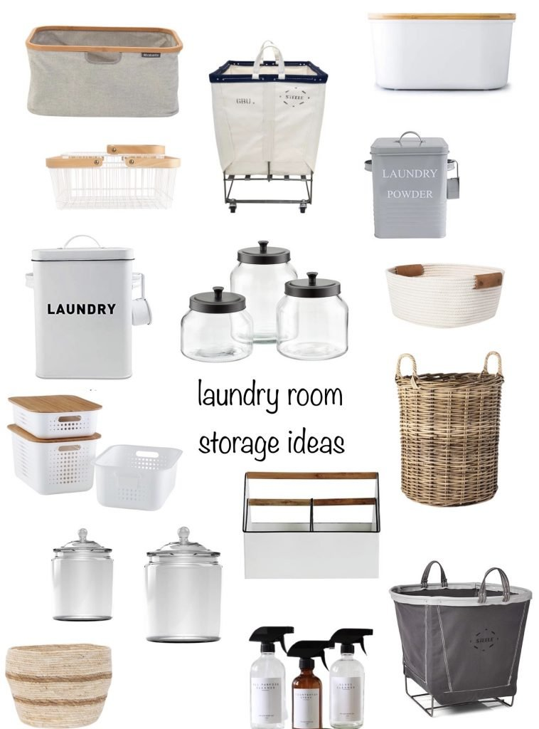 laundry room storage ideas including baskets, bins, pretty canisters & more.