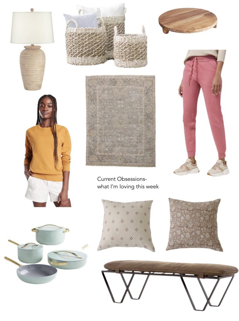 affordable lamp, cute woven baskets, pink joggers, vintage rug, cute pillows, cookware and a sweatshirt
