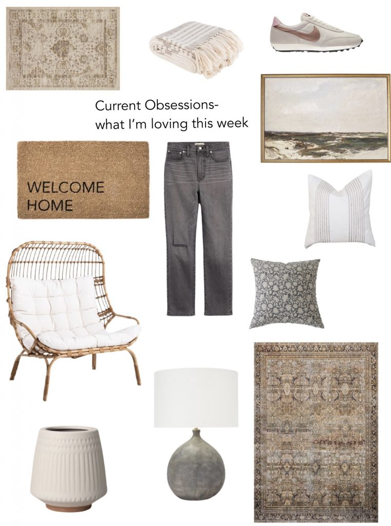 current obsessions: what I'm loving this week!  Home decor, clothing & outdoor things I'm loving!  affordable vintage-inspired rug, art print, lightweight blanket, cute nike shoes, MADEWELL jeans, outdoor chair, spring pillows