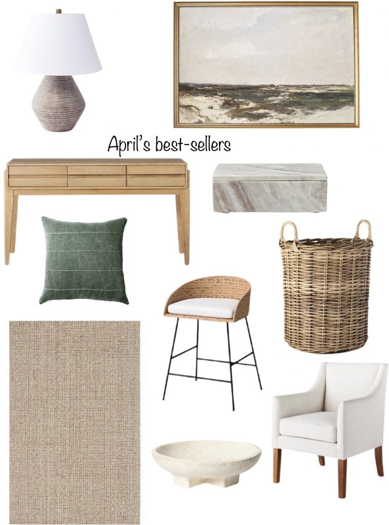 April 2021 favorites include Target table lamp, marble box, and console table.  An Etsy art print, throw pillow, affordable chair & basket, Pottery Barn rug