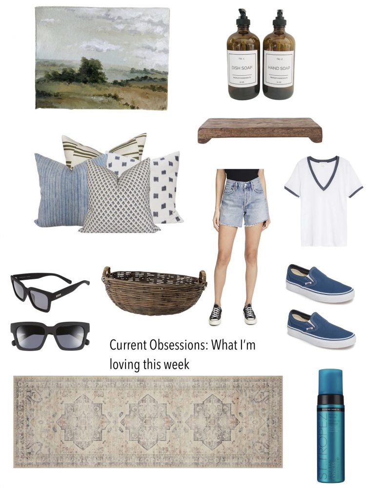 what i'm loving this week!  a beautiful pillow combo, adorable vans, cute ringer tee, an original acrylic painting, Le Spec Sunglasses, self-tanner