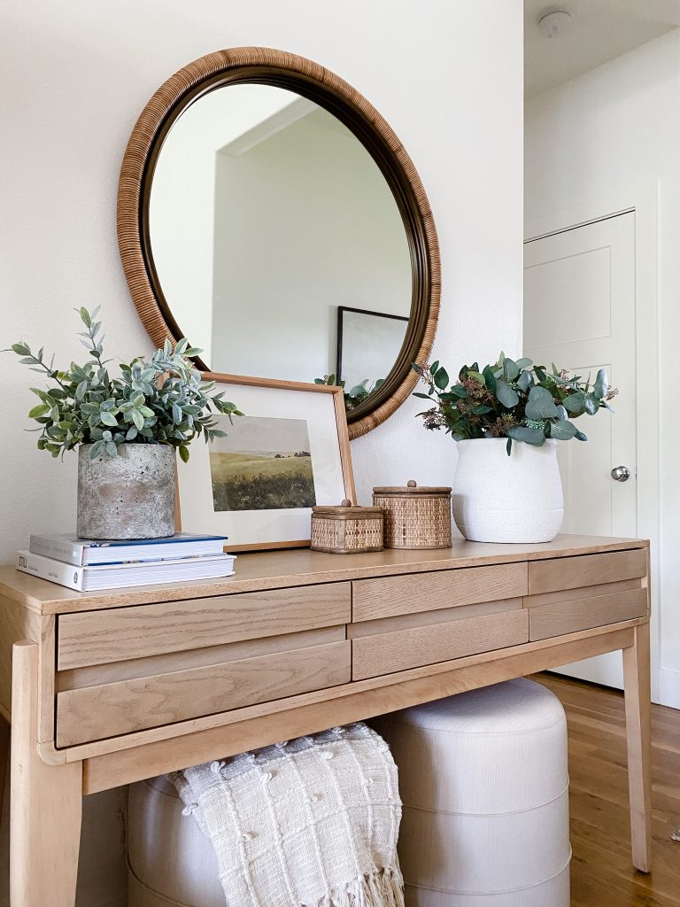 decorating a console table on a budget