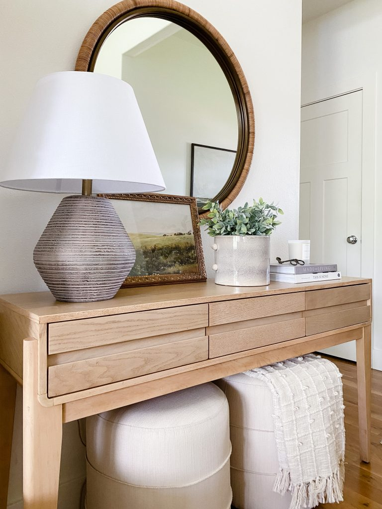 console table decorating on a budget