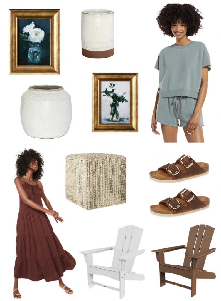 current obsessions this week- cute loungewear set for summer, adorable sandals, affordable framed artwork, sundress