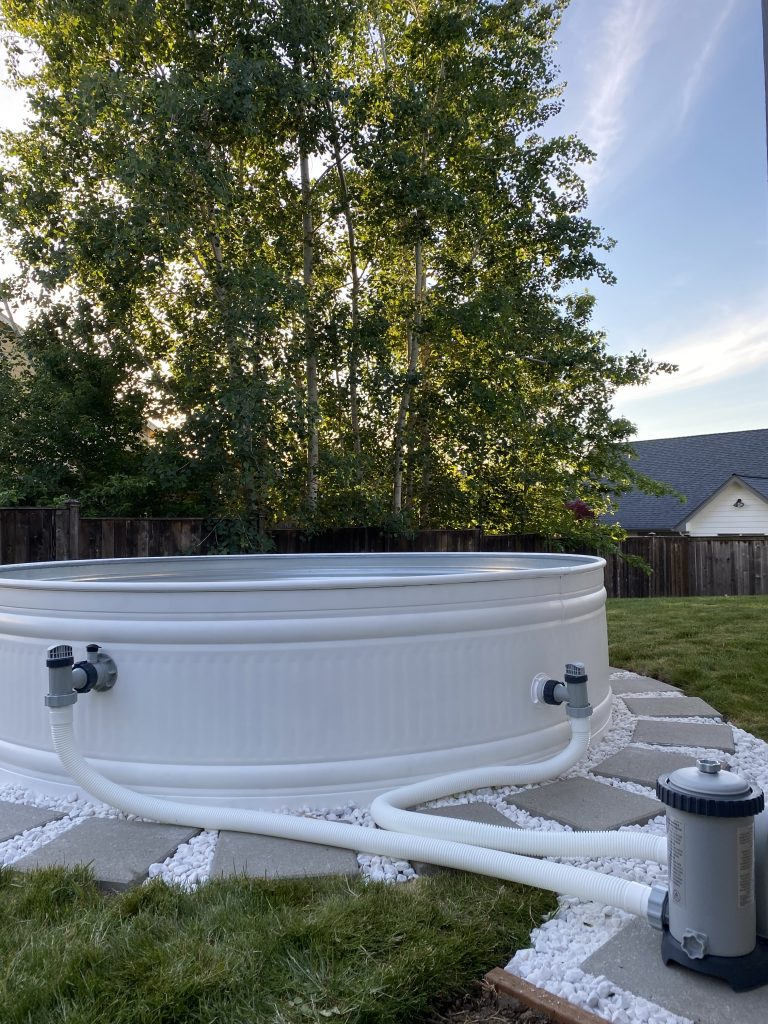 the DIY backyard stock tank pool pumps are installed