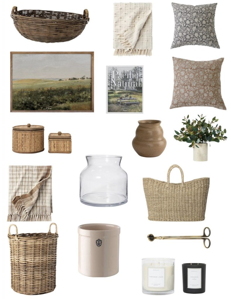 summer home decor favorites!  Pretty floral pillows, lightweight throw blankets, great baskets, summer-scented candle, pretty artwork