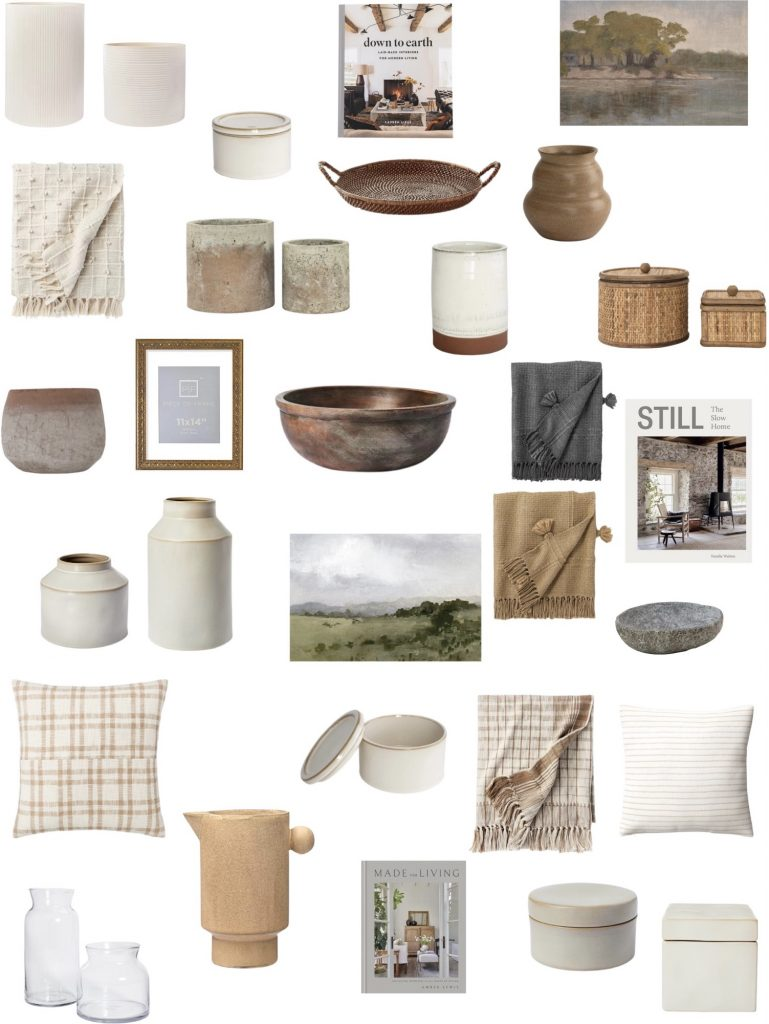 30 pieces of affordable living room decor including pillows, throw blankets, decorative objects, books, artwork, frames and vases