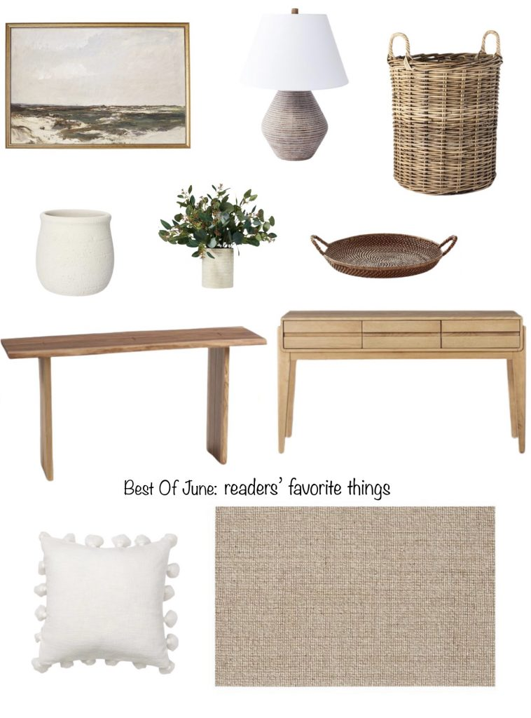 reader's favorite things.  artwork, table lamp, basket, pot, faux greenery, tray, console table