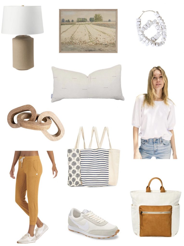 current obsessions:  what I'm loving this week including cute joggers, nike shoes, target backpack, reusable grocery bags, Z Supply tee, Etsy Pillow & artwork