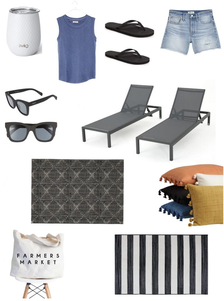 outdoor lounge chairs, wine glass that will keep your drink cold, rainbow flip flops, cute sunglasses, outdoor rug & pillows.