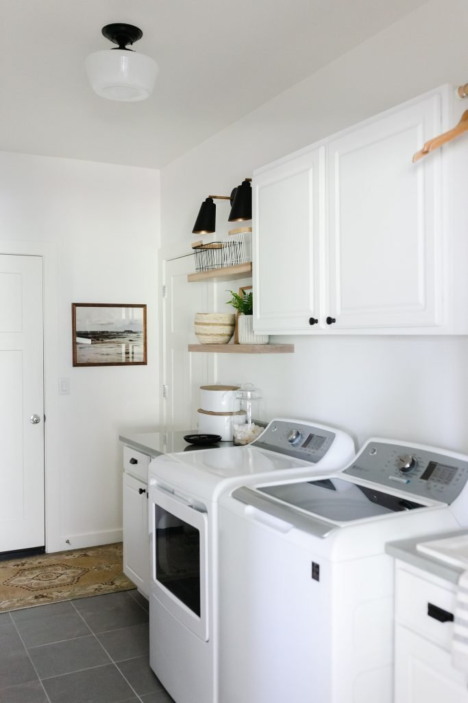 organize your home with baskets in the laundry room