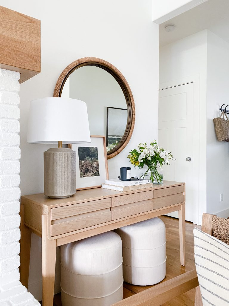 current obsessions what I'm loving this week.  console table with a Target lamp on top, upholstered ottomans below, round mirror above