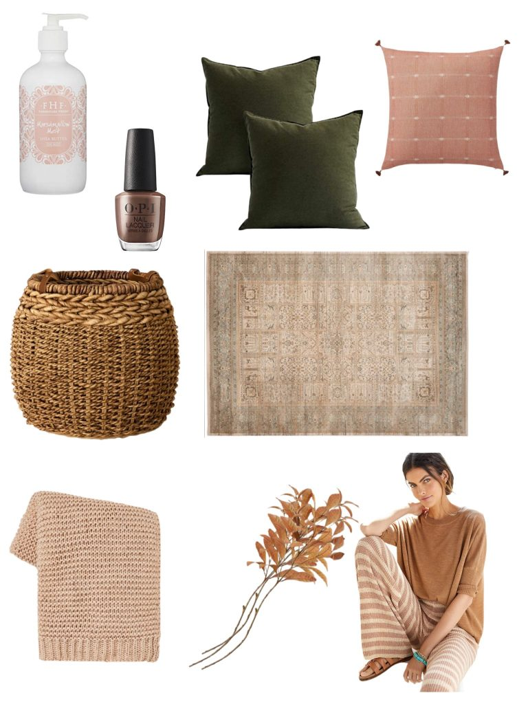 current obsessions:  what I'm loving this week!  includes perfect for fall pillows, a basket, my favorite new lotion and nail color, a vintage inspired rug, cozy sweater