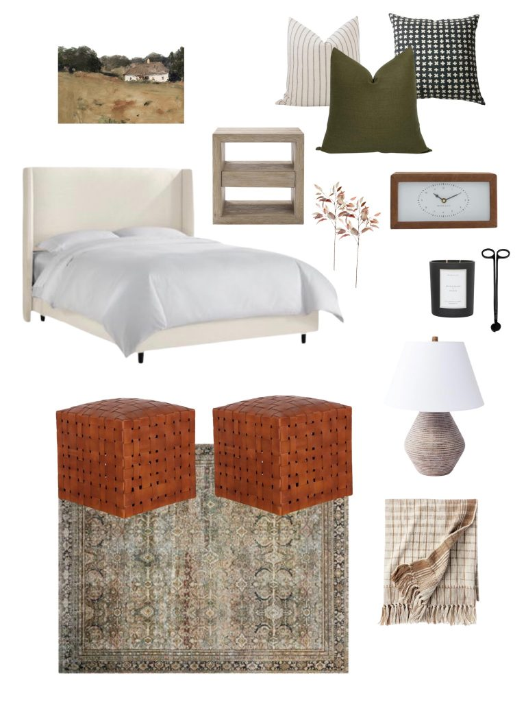 2021 fall design boards including this bedroom space filled with fall pillows, faux greenery, a candle, cozy bed, fall inspired artwork