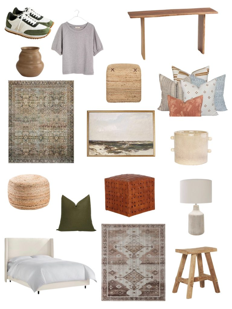 the best labor day sales including my favorite upholstered bed and stool, a lamp, green pillow, ottomans, decor, artwork