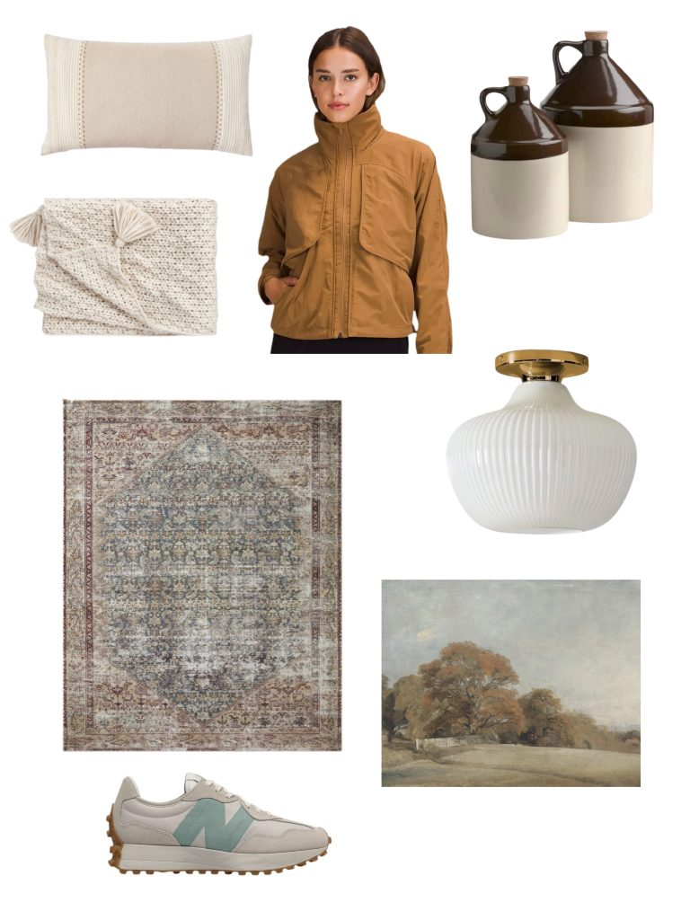 current obsessions: my favorite things this week include a cozy blanket and pillow perfect for fall into holiday, cute rain jacket & sneakers, a beautiful rug, artwork